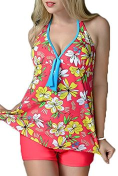 British Womens Swimsuit Two Pieces Halter Backless Sexy Swimdress with Shorts Floral Beach Swimwear Plus Size #British #UK #PlusSize #FashionBug #BathingSuits #Swimsuits #Swimwears