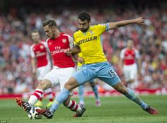 Bit of a stretch: Palace captain Mile Jedinak positions his body to try and stop Aaron Ram...
