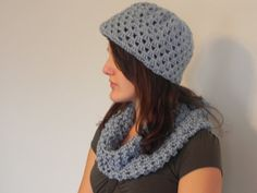 Croched hat and scarf LTBLUE fashion Christmas gift by IVMAN, $35.00