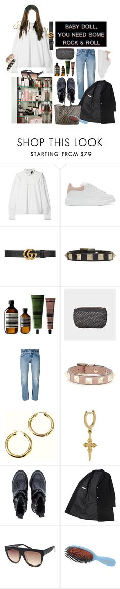 """""""wanna be"""" by mollyyylindstrom ❤ liked on Polyvore featuring Needle & Thread, Alexander McQueen, Gucci, Valentino, Aesop, Levi's, Dr. Martens, Goyard, CÉLINE and Mason Pearson"""