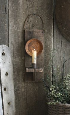Primitive Early Lighting Inspired Wooden Make do Reflector Candle Sconce w Stub | eBay