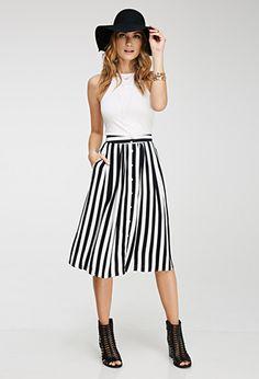Striped Midi Skirt | FOREVER21 - 2000097003 $20