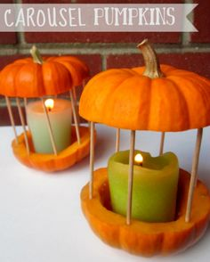 Samhain // Hallowe'en // Day of the Dead - Pumpkin Lanterns: Mini pumpkins, skewers, & candle (tealight or pillar) Mini Pumpkins, Halloween Pumpkins, Halloween Crafts, Halloween Candles, White Pumpkins, Fall Crafts, Holiday Crafts, Holiday Fun, Festive
