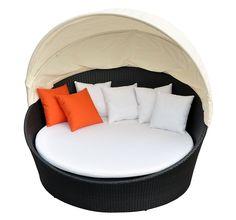 Amazon.com : Prime Source Wicker/Aluminum Frame Round Sunbed with Shade and Orange Throw Pillows : Patio Sofas : Bedding & Bath