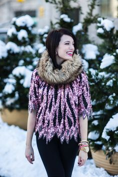 Omaha's @Natalie Navis wearing a vintage sequin top from Esther's on her blog.