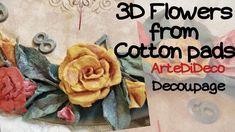 3D Λουλούδια από δίσκους ντεμακιγιάζ...! ArteDiDeco [CC] Cotton Pads, Flower Tutorial, Handmade Flowers, Decoupage, Creative, Fabric, Crafts, Youtube, Diy Clock
