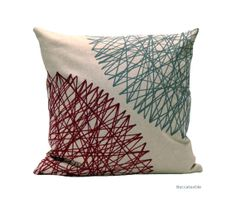 Burgundy and grey pillow  Geometric cushion cover by Beccatextile, €28.99