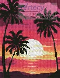 Mini Sunset with Palm Trees cross stitch pattern.