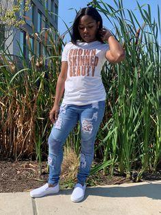 Ladies' Brown Skinned Beauty Glitter T-Shirt - Medium