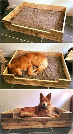 easy to make pallet dog bed pallet furniture diy puppy pinterest pallet dog beds dog. Black Bedroom Furniture Sets. Home Design Ideas