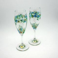 ROMANTIC GARDEN - hand painted matching pair of Champagne Flute wine glasses - rings of little blue roses, white daisies and baby breath