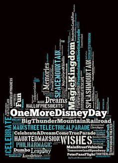 "Here is an example of what a word cloud or word tag is, it shows shows words like ""Magic Kingdon"" or ""Wishes"". All these words all describe one place and that place is Disneyland."