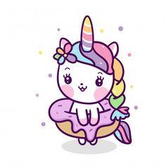 Cute unicorn vector with donut cartoon Premium Vector Unicorn Drawing, Unicorn Art, Baby Unicorn, Cute Unicorn, Unicorn Donut, Unicorn Birthday, Donut Cartoon, Doodles Bonitos, Little Girl Cartoon