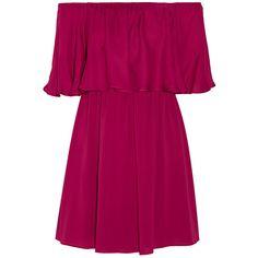 Alice + Olivia Dora off-the-shoulder stretch-silk chiffon mini dress,... (1.414.015 COP) ❤ liked on Polyvore featuring dresses, vestidos, tops, vestiti, chiffon cocktail dress, purple chiffon dress, plum purple dress, alice+olivia dresses and short dresses