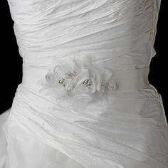White or Ivory Flower Crystal Wedding Sash Bridal Belt Beautiful Wedding Gowns, Used Wedding Dresses, Wedding Sash Belt, Wedding Bride, Affordable Bridal, Bridal Gallery, Crystal Wedding, Bridal Hair Accessories, Jewelry Accessories