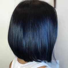 Blue Black Hair: How to Get It Right - - Sleek Black Bob With Blue Highlights Blue Black Hair Dye, Hair Color For Black Hair, Color Black, Dark Blue, Black Hair With Blue Highlights, Short Black Hair, Hair Highlights, Weave Hairstyles, Straight Hairstyles