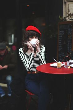 Classically Parisian - red beret, striped top, dark jeans