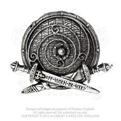 Viking Shield Belt Buckle by ALCHEMY GOTHIC - War Band Rune Sword Runic Norse buckle