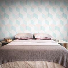 Department Wallpaper by Sophy Hollington Tile Wallpaper, Geometric Wallpaper, Photomontage, Other Rooms, Designer Wallpaper, Girl Room, Home Art, Wall Murals, Shabby Chic