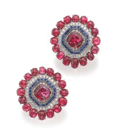 PAIR OF RUBY, SAPPHIRE AND DIAMOND EAR CLIPS, Sotheby's. Geneva, May 2014.