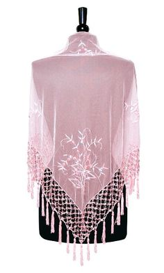 Hand Made PINK Color Beaded Embroidered Shawl Scarf Wrap