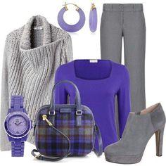 Winter wear. Purple. Gray