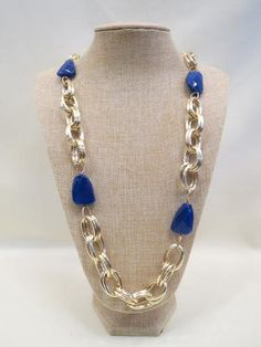 ADO Blue Stone Gold Chain Necklace | All Dec'd Out