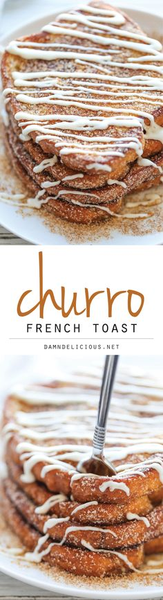 Churro French Toast - The most amazing, most buttery French toast you will ever have, coated in cinnamon sugar and drizzled with an epic cream cheese glaze! Breakfast and dessert! Yummy Recipes, Brunch Recipes, Sweet Recipes, Dessert Recipes, Yummy Food, Brunch Ideas, Apple Recipes, Recipies, Breakfast Desayunos