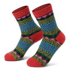 [US$5.59] Women Vintage Red Cotton Blend Warm Socks #women #vintage #cotton #blend #warm #socks