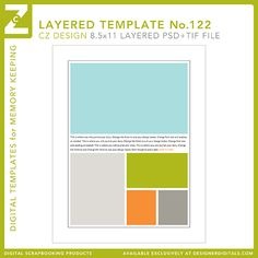 8.5 x 11 layered template: the slot (lower left) is sized for any 3 x 4 digital card file so you can build a layout around a favorite Project Life card