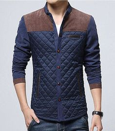 2147f5cf2d5 Hot Spring Men s fashion casual jacket stitching Slim Collar coat outerwear  Men s Fashion Casual Jackets