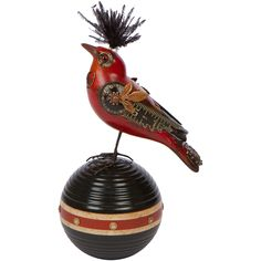 unique scarlett tanager steampunk bird on croquet ball, handmade in usa from MUSEUM OUTLETS