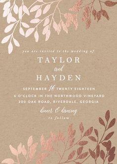 """Fall in Love"" - Rustic, Modern Foil-pressed Wedding Invitations in Kraft by Angela Thompson."