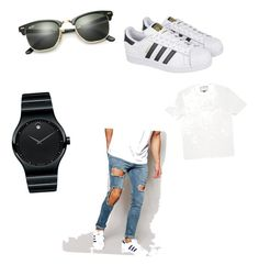 """Untitled #30"" by amna-imsirovic ❤ liked on Polyvore featuring Ray-Ban, Movado, ASOS, adidas, Gucci, men's fashion and menswear"