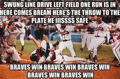 He is... SAFE! Braves win! Braves win! Braves win! Braves win! Braves win!