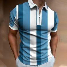 Mode Simple, Short Sleeve Polo Shirts, Golf Shirts, Men Shirts, Plein Air, Striped Shorts, Workout Tops, Printed Shorts, Mens Golf