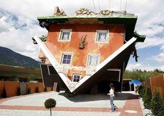 Really Odd upside down house in Terfens, western Austria, built by Polish architects Irek Glowacki and Marek Rozanski.