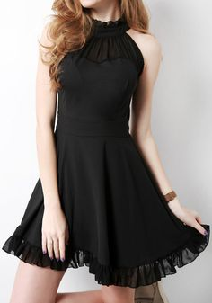 Black Sheer Trim Dress