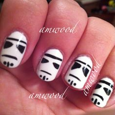 Star Wars nail art by my sister Amy M.- this seems fun. Who doesn't love a storm trooper?