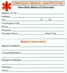 This handy wallet card comes with every bracelet and every medical alert order shipped. If you need a card for your wallet, just ask.