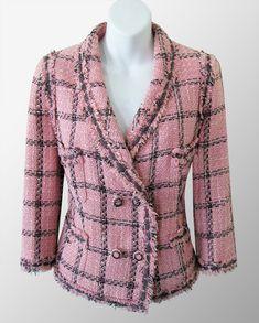 CHANEL Pink Fringed Plaid Boucle Jacket