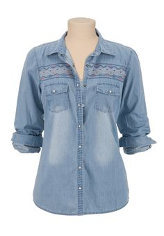 Maurices: Embroidered 2 pocket denim shirt
