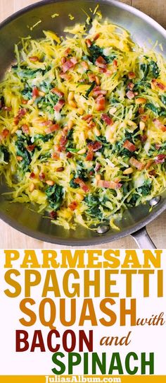 Low Carb Recipes To The Prism Weight Reduction Program Parmesan Spaghetti Squash With Spinach, Bacon, Pine Nuts Diet Recipes, Vegetarian Recipes, Cooking Recipes, Healthy Recipes, Crockpot Recipes, Chicken Recipes, Low Carb Spaghetti, Spaghetti Spinach, Vegetarian