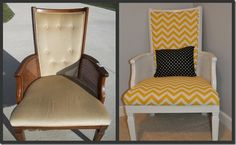 how to reupholster a chair to make a new chevron patterned chair Chevron Furniture, Funky Furniture, Upcycled Furniture, Painted Furniture, Furniture Redo, Vintage Furniture, Furniture Ideas, Homemade Furniture, Diy Chair