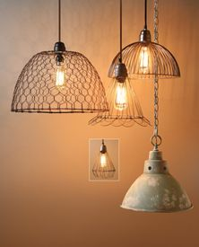 DIY LIGHTING ~~  Lamps from metal fruit trays !!