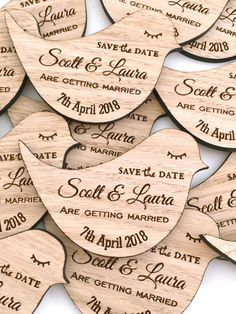 Not entirely made up your mind on the timings and reception? a beautiful way of getting your special day in the diary.  Start your wedding day planning with these gorgeous vintage style bird save the dates  A stunning alternative save the date that really will set the scene for your big day. Produced from 3mm oak veneered wood and laser engraved to give a lovely rustic touch to your wedding. (other wood shades available at request) Size Aprox: Length: 80mm Height: 55mm  Minimum order…