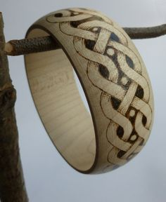 Wooden bracelet decorated with pyrography - Celtic style £15.00