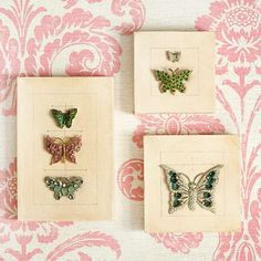 Love this idea - Butterfly Jewelry Collection     For the nature lover, make a science-inspired series of butterfly artwork with vintage appeal. Paint a gesso-finish artist's canvas with water-thinned dark umber paint, then rub it off. Attach jeweled butterfly pins to the canvases. Use a graphite pencil to draw lines depicting the wingspans