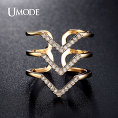 Micro CZ Three V Shape Ring Gold Plated Fashion Jewelry for Women Pave Luxury Rings   Design AUR0360A