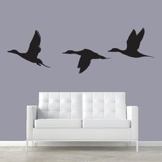 Three Prized Flying Pintail Duck Silhouettes -Ducks Wall Decal-Boy Girl Nursery Baby Decal, Hunting decal, Kids Room Decal, Bedroom, Living